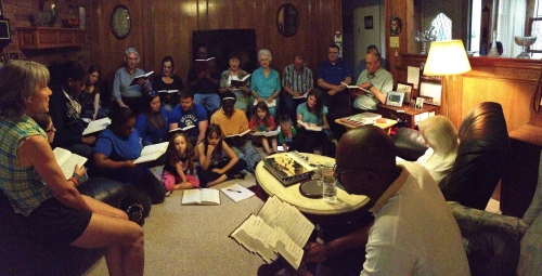 Monday Night for the Master singers visiting a shut-in.  Singing truly awakened her soul.
